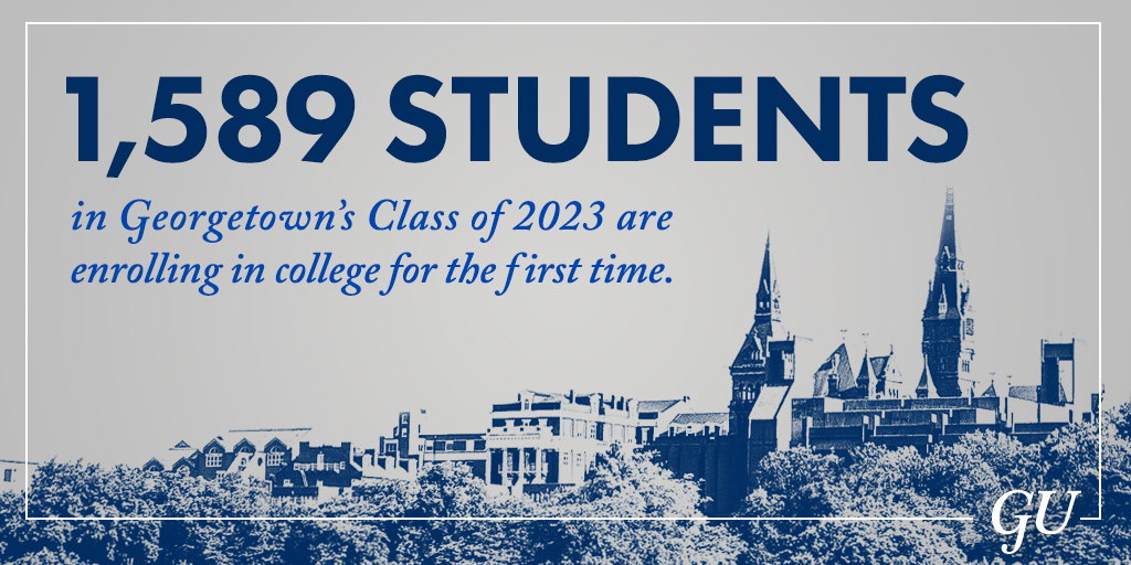 Graphic illustration that shows there are 1,589 incoming first-year students at Georgetown.